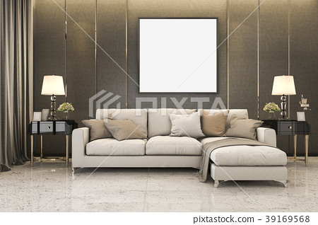 nice soft sofa near luxury golden decor mock up 39169568