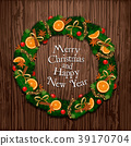 Aromatic Decorated Christmas Wreath on Wooden Door 39170704