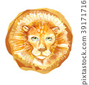 Head of a lion with a mane on a white background. 39171716