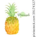 Watercolor fresh pineapple. 39174327