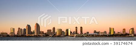 [高分辨率]聖地亞哥市中心全景全景日落 39174674