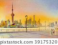 Beautiful shanghai, in China. Watercolor painting 39175320