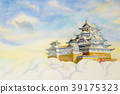 Himeji Castle, in Japan. Watercolor painting 39175323