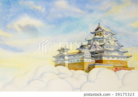 Himeji Castle, in Japan. Watercolor painting 39175323