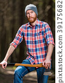 portrait of a man in a plaid shirt with an ax  39175682