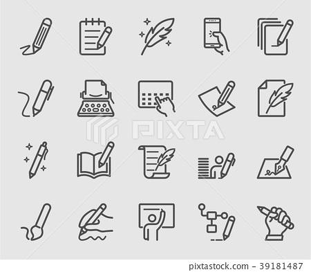 Writing, Signature, Note line icon set 39181487