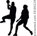 handball girl player silhouette 39184229