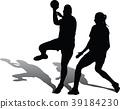 handball girl player silhouette 39184230