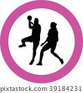handball girl player silhouette 39184231