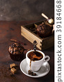 Cup of coffee with cooffee beans, wooden box with 39184668