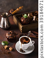 Cup of coffee with cooffee beans, wooden box with 39184671