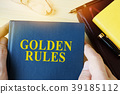 Man holding guide with title golden rules. 39185112