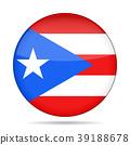 Flag of Puerto Rico. Shiny round button. 39188678