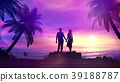 Couple on the tropical sunset background 39188787