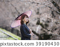 A young woman holding a parasol looking at cherry blossoms at a kicking up line in Higashiyama Ward, Kyoto City, Kyoto Prefecture 39190430