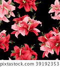 pink and red lily seamless pattern. Vector print 39192353