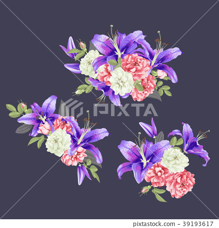 pink Rose and violet lily Vector 39193617