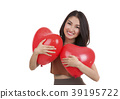 Asian pretty girl and a red heart 39195722