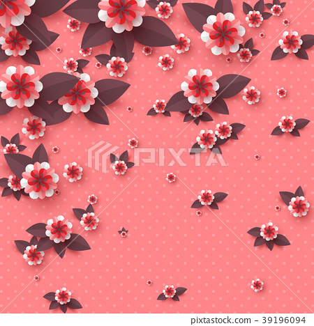 Paper cut decorative flowers. 39196094