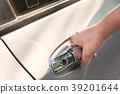 hand on handle opening a car door 39201644