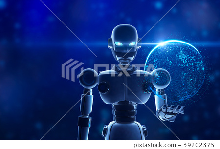 Robot holding the planet earth in virtual display 39202375