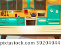 Kitchen interior background vector cartoon 39204944