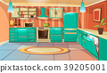 Vector cartoon modern kitchen interior background 39205001