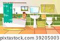 Vector cartoon young man having bath in bathtub 39205003