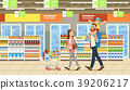 Family shopping in supermarket with product cart.  39206217