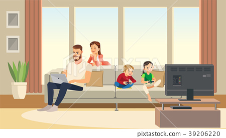 Family at home. Mother care about father. 39206220