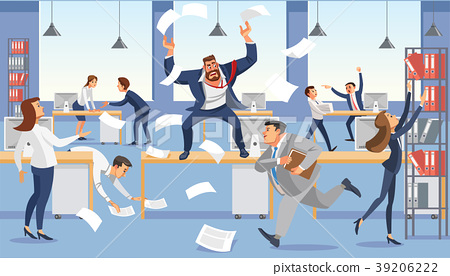 Angry boss shout in chaos office  39206222