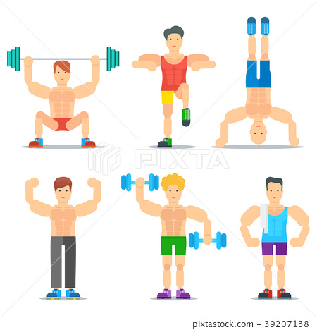 Men Fitness Cartoon Colorful Icons Collection 39207138