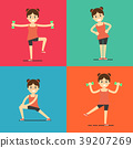 Fitness girl doing exercise, illustration set 39207269