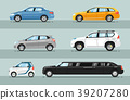 Collection of Passenger Cars Flat Style Colorfuls 39207280