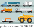 Collection of Trucks Flat Style Illustrations 39207281