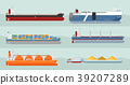 Collection of Cargo Ships Flat Style Illustrations 39207289