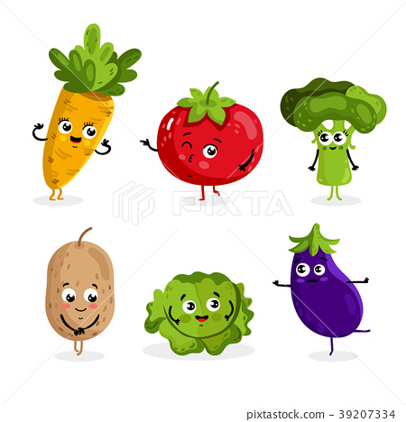 Funny vegetable characters cartoon isolated