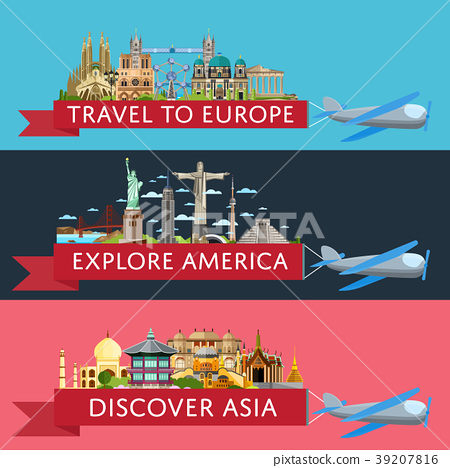 Worldwide travel set with famous attractions 39207816