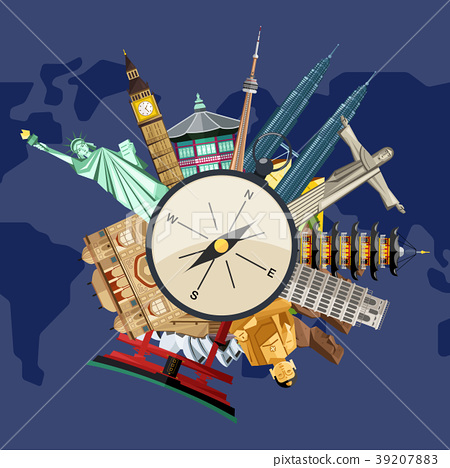 Time to travel concept with famous attractions 39207883