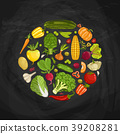 Fresh vegetable round shape composition 39208281