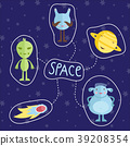 Space Cartoon Style Colorful Icons Set 39208354