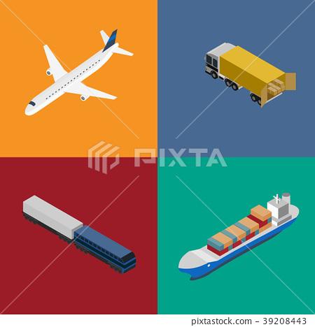 Logistics and freight transportation icon set - Stock