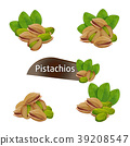 Pistachios kernel in nutshell with leaves set 39208547