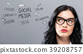 Social Media with young businesswoman 39208757