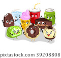 Funny sweet food and drink character set 39208808