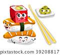 Funny sushi and sashimi set cartoon character 39208817