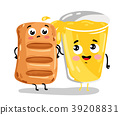 Funny puff pastry and lemonade cartoon characters 39208831