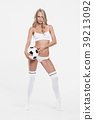 Sexy blonde girl with soccer ball 39213092