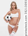 Sexy blonde girl with soccer ball 39213093