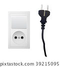 Electric white socket with plug and switch. 39215095